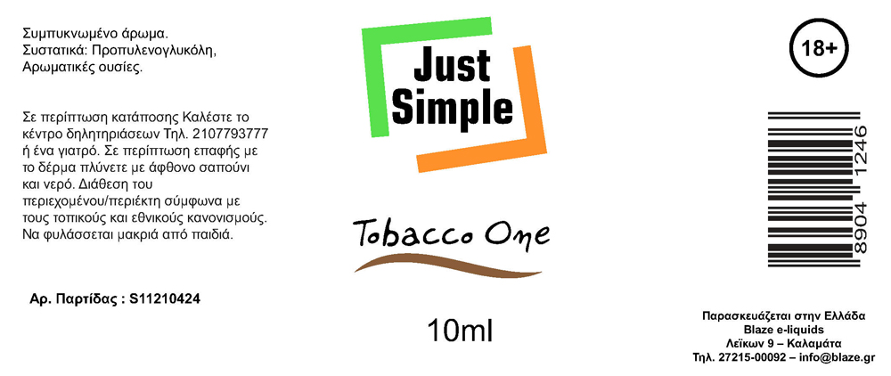 Blaze Just Simple Tobacco One