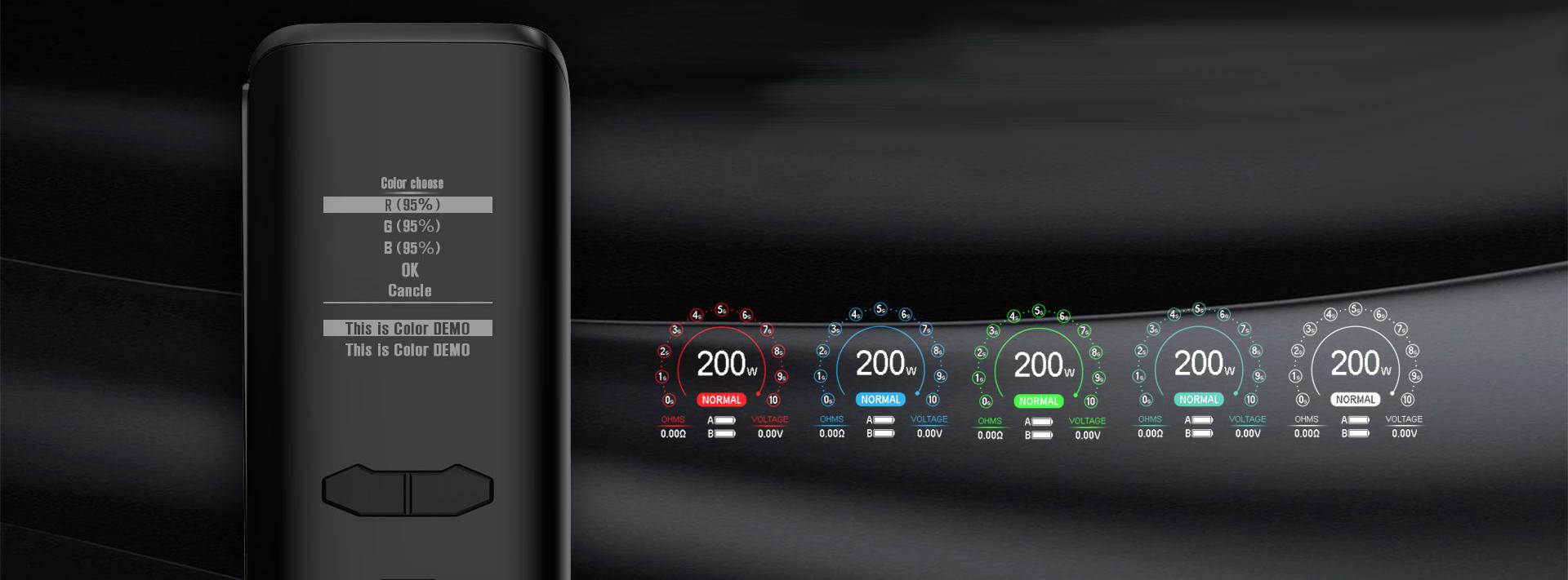 Augvape VX200 mod, έγχρωμη οθονη 1,3 ιντσων.