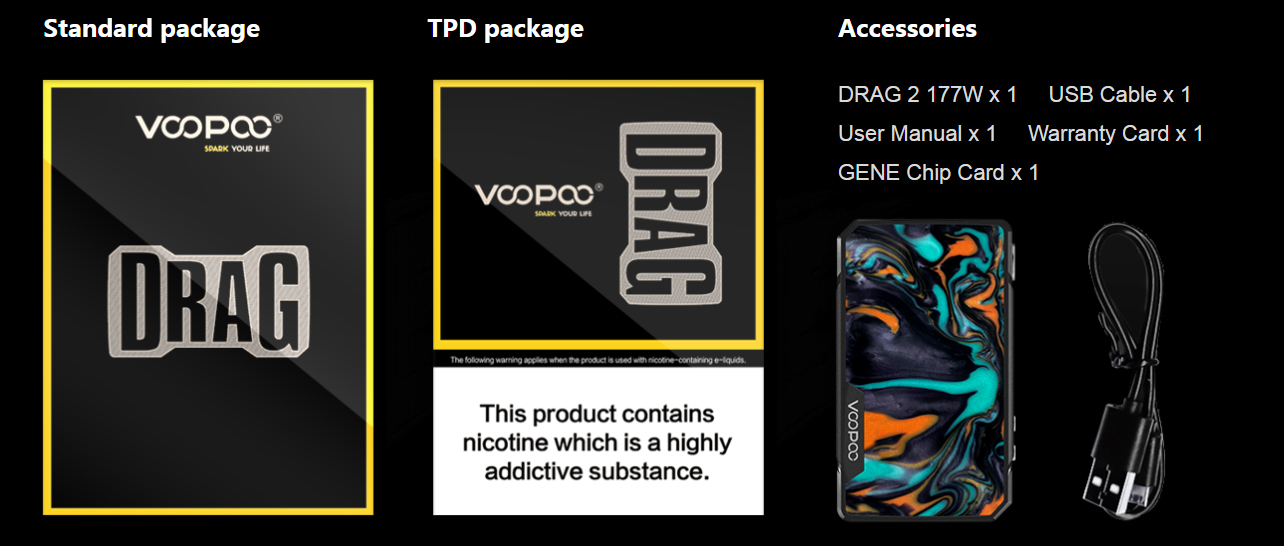 Drag 2 Box Mod VOOPOO Package - DRAG 2 BOX MOD VOOPOO